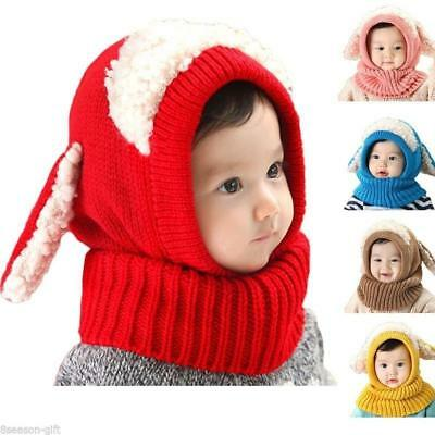 Warm Kids Boys Girls Toddler Knitted Winter Baby Beanie Hat Ball Earmuffs Cap