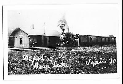 RPPC Railroad Depot Bear Lake Train 10 - Real Photo Postcard