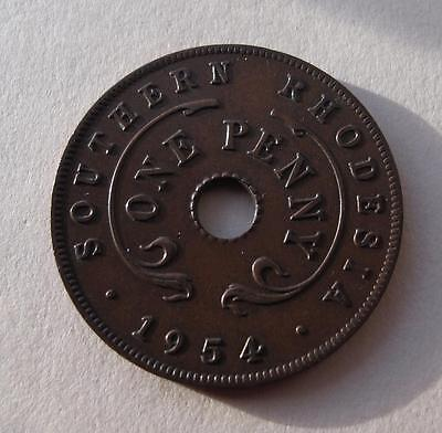 1954 Southern Rhodesia 1 Penny Coin KM# 29 British Crown Colony Zimbabwe Africa