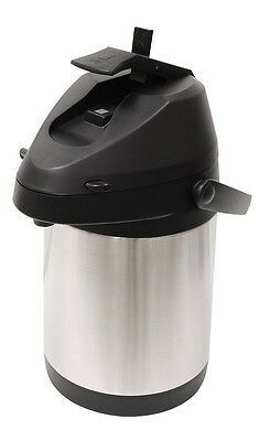 Primula Double-Wall Beverage Carafe with Pump Dispenser, Stainless Steel/Black.