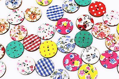 Flower Pattern Wooden Button Floral Plaid Check Polka Dots Round Mix 20mm 20pcs