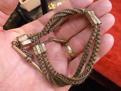 Rare Antique Victorian Rose Gold Filled Braided Hair Mourning Watch Fob 'chain'