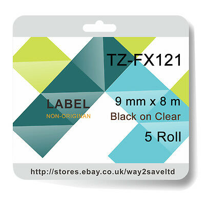 5 compatible with Brother TZ-FX121 Laminated flexible Label Black/Clear 9mmx8m