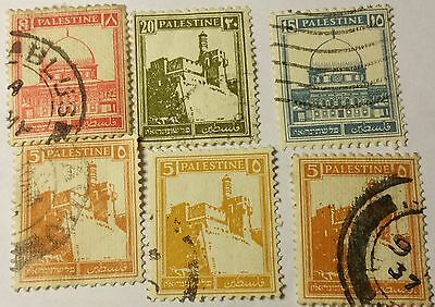 Palestine   Scott #67,67,72,76,77  Used Stamps  ....worldwide Stamps