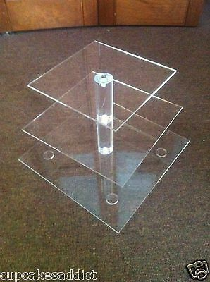 3 Tier Clear Acrylic Maypole Square Cupcake Cup Cake Stand Tower Wedding Party