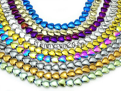 Natural Non-Magnetic Hematite Gemstone Flat Heart Beads Metallic Colors 16''