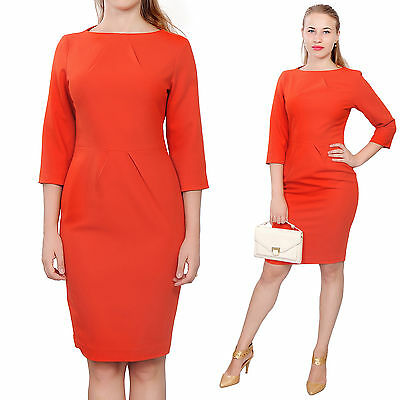 d2268147433d Red Womens Elegant Classy Work Office Business Long Sleeve Knee Length  Dresses