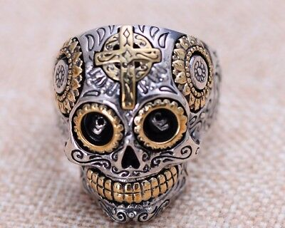 S112   skull ring 925 sterling silver  men Thai Silver Rings us size 8-14
