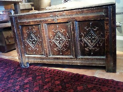 c18th Carved Oak North Country Coffer,
