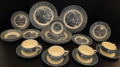 Currier & Ives Royal China 20 Pc FOUR Place Setting Starter Set EXCELLENT!
