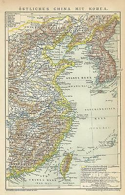 1892 ÖSTLICHES CHINA EAST CHINA KOREA Historische Landkarte Karte Antique Map