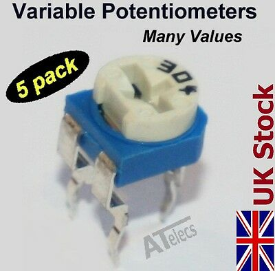 Trimming Variable Potentiometer Resistors  5 PACK  MANY VALUES  pots presets -UK