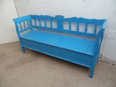A Beautifully Painted Shabby Chic Blue 3 Seater Box Settle / Bench