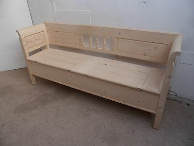 A Fabulous Large Reclaimed Pine 2 Lid Box Settle / Bench to Paint/Wax