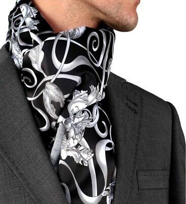 Amedeo Exclusive New Mens Unisex Black White Floral Dress Silk Suede Scarf #14