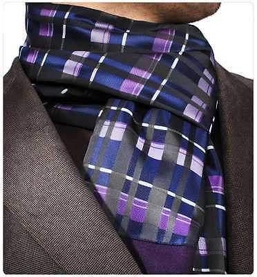 Amedeo Exclusive New Double Sided Black Purple Check Dress Silk Suede Scarf #18