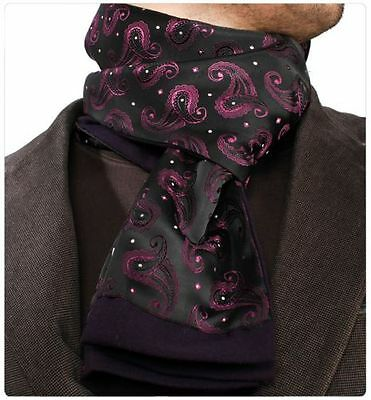 Amedeo Exclusive New Two Sided Black Purple Paisley Dress Scarf Made Turkey #19