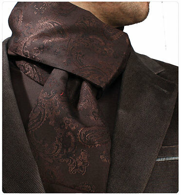 Amedeo Exclusive New Men Dark Brown Paisley Dress Scarf Made in Turkey $39 - #21