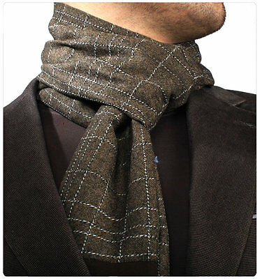 Scarf Check Double Side Cashmere Plaid Men Brown Wool Long Soft New Warm Shawl