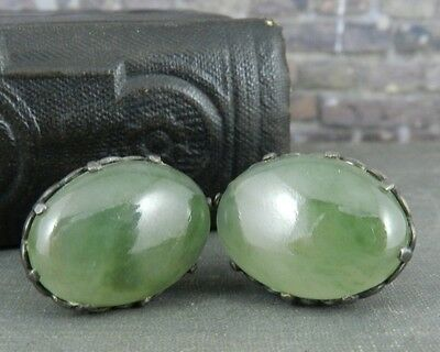 Vintage Green Moss Agate Sterling Silver Screw Back Earrings