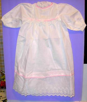 """Thumbelina Christening Dress By Ideal White Cotton & Eyelet Pink Trim 25"""" Doll"""