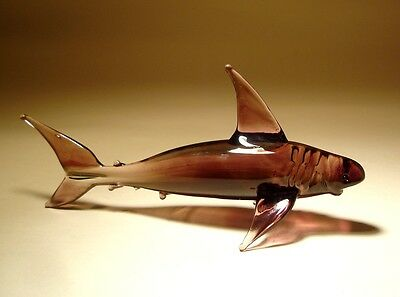 "Blown Glass ""Murano"" Art Figurine Fish Purple SHARK"