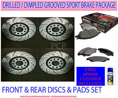 Toyota Celica 1.8 VVTi 140 02-06 Front Rear Drilled Grooved Brake Discs + Pads