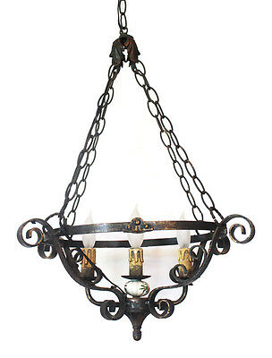 Antique French Wrought Iron Chandelier Hanging Light