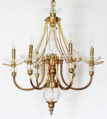 Beautiful 5 Arm Brass & Lead Crystal Chandelier Gorgeous Hand Cut Crystal