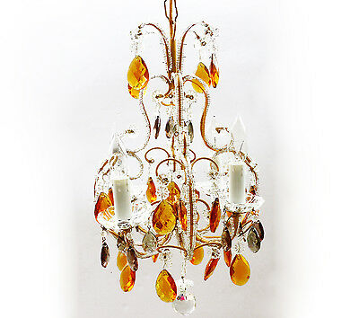 ANTIQUE Macaroni Beaded Italian CHANDELIER Vintage Gold & Silver Crystals