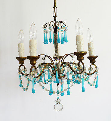 Rare Antique Stunning Italian Beaded Opaline Aqua Drops Chandelier Gorgeous