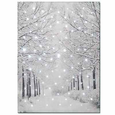 Snowtime Battery Operated Fibre Optic Christmas Canvas Snowy Tree Lined Avenue