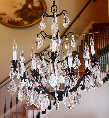 Antique French Iron Crystal Chandelier