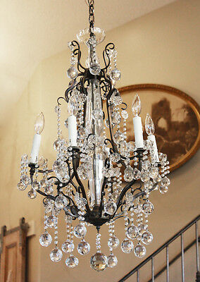 Incredible Antique Bronze French CHANDELIER Crystal Balls STUNNING!