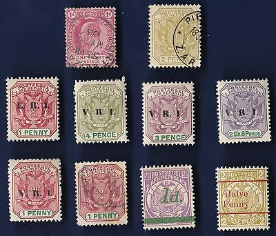 10 All Different Transvaal  Stamps