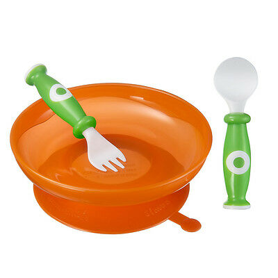 Simba Baby Toddler Infant Orange Spoon Fork Non Slip Suction Cup Plate Combo Set