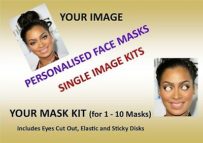 Personalised Custom Face Mask KIT - 1 to 10, Low Cost  Standard Party Mask Kits