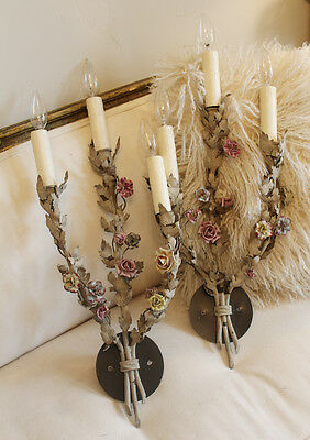 Rare French Tole Porcelain Roses & Old Grey Paint Wall Sconces