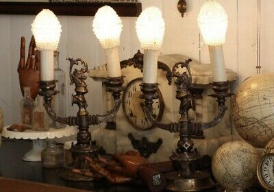 *RARE Pair ANTIQUE BRONZE Candelabra Lamps Figural France French European Sconce