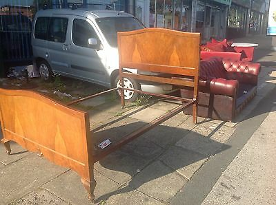 Antique Walnut Double Bed Vintage Flamed With Rails 1930's 40's