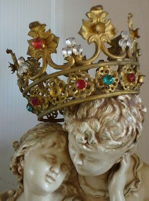 LATE 1800s Rare Pink & Aqua Stones French Crown ANTIQUE