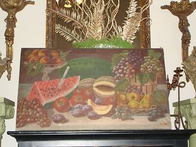 1800s ANTIQUE Signed Oil PAINTING Fruit Incredible