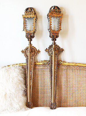 Incredible Antique Italian Tochiere Lantern Wall Sconces Unbelievable