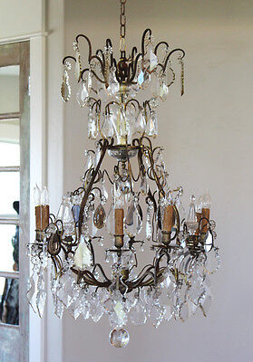 Early 1800s French Antique Bronze Crystal Electric Chandelier Showstopper