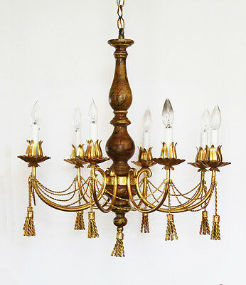Antique Italian Tole Gilt Metal Tassles Chandelier
