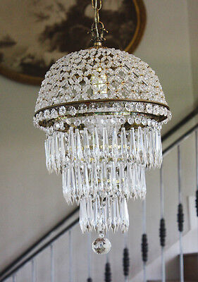 Antique Beaded Dome Wedding Cake Chandelier Gorgeous Rare • CAD $2,387.15
