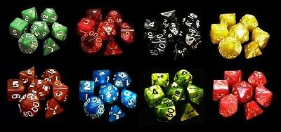 8 NEW Sets Marbled Polyhedral Dice - Assorted Colors - RPG D&D