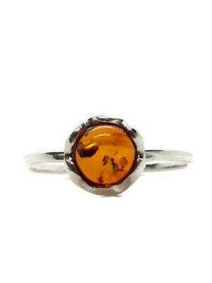 Ring 925 Sterling Silver 5 x 5 mm Cognac Genuine Baltic Amber