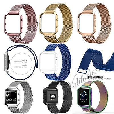 Luxury Mesh Stainless Steel Strap Wrist Band+Metal Frame For Fitbit Blaze Watch