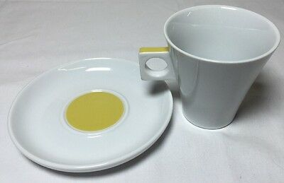 Nescafe Dolce Gusto Coffee Cup and Saucer White Yellow 6 oz.